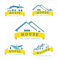 Set house logo design template realty theme icon vector