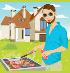 Young hipster man barbecuing meat on the grill vector