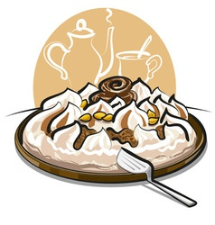 Ice cream cake and tea vector