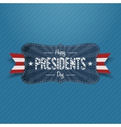 Blue striped banner with happy presidents day text vector