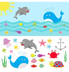 Sea ocean animal fauna set fish whaledolphin vector