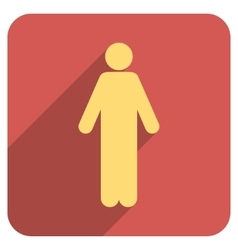 Man flat rounded square icon with long shadow vector