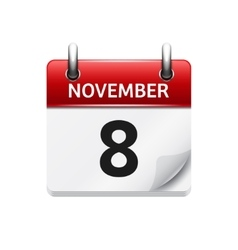 November 8 flat daily calendar icon date vector