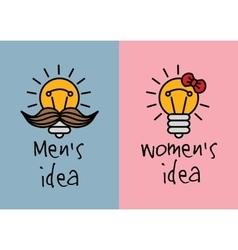 Man and woman ideas creative fun color icons vector
