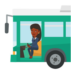 African bus driver sitting at steering wheel vector