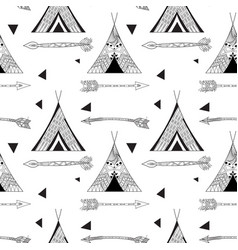 Black wigwam pattern vector