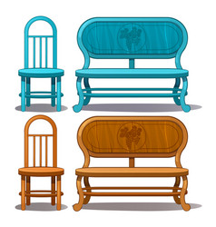 Chairs and benches blue and brown color vector