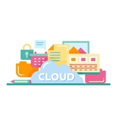 Cloud Storage Technology - flat design website vector image