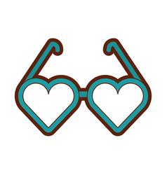 Eyeglasses with heart shape vector