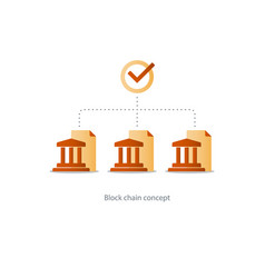 Financial system concept bank chain data analytics vector