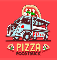 Food truck pizza fast delivery service logo vector