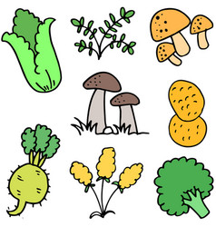 fresh vegetables doodles vector image vector image