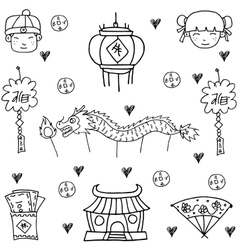Hand draw of chinese celebration doodles vector