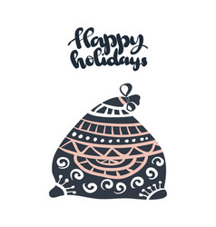 happy holidays beautiful greeting card scratched vector image vector image