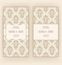 Invitation cards or wedding card with damask vector