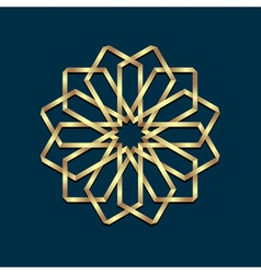 Islamic 3d golden origami round ornament vector