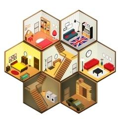 Isometric rooms icon vector