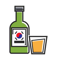 Korean drink in bottle and glass cup isolated vector