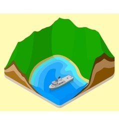 lagoon isometric coastline relief vector image