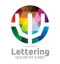 lettering w rainbow alphabet icon vector image