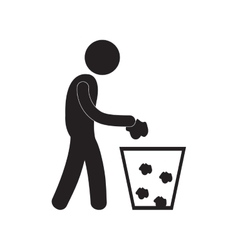Man throwing trash can pictogram vector