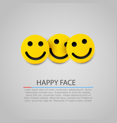 modern yellow laughing three smiles vector image vector image