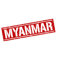 Myanmar red square stamp vector