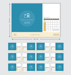 photo calendar 2018 ready to print vector image
