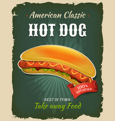 retro fast food hot dog poster vector image