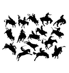 Rodeo activity and action silhouettes vector