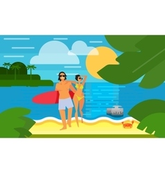 Seascape with Young Happy Couple vector image