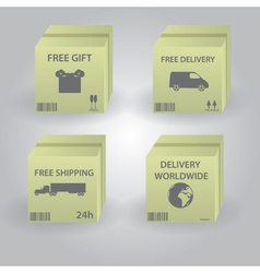 set of paper box for delivery and shipping eps10 vector image vector image