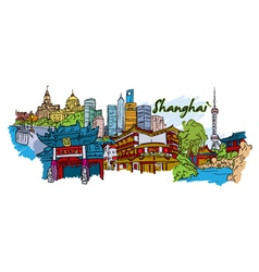 shanghai doodles vector image vector image