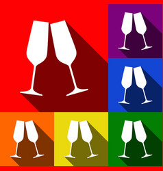 sparkling champagne glasses set of icons vector image