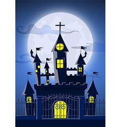 Spooky ghost castle with full moon in background vector