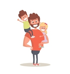 Superhero dad concept Strong Dad holding his two vector image vector image