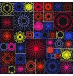 Tile seamless pattern with spirograph mandalas in vector