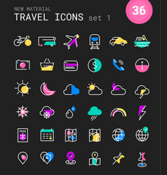 Travel tourism and weather linear icons set 1 vector