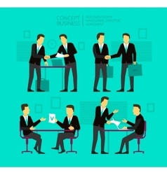 Two businessman negotiate and sign a paper shake vector