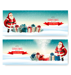 Two holiday christmas banners with a gift boxes vector