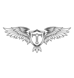 Wings with feathers and a shield vector image vector image