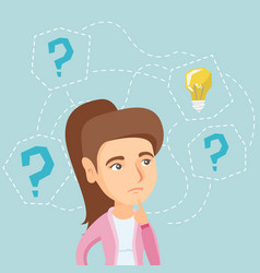 young woman thinking about new idea for business vector image vector image
