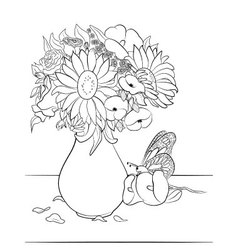 00204-Vase-with-flowers-coloring-page vector image