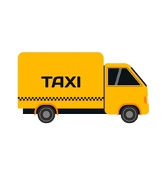Yellow taxi truck van vector image
