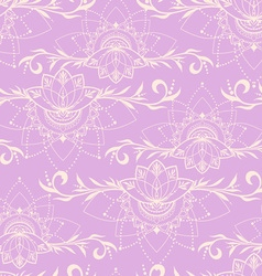 Hand-drawn seamless pattern with lotus in east vector