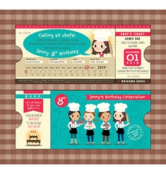 Ticket birthday card party invitation template vector