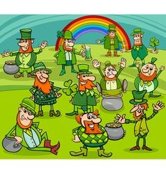 saint patrick day characters group vector image