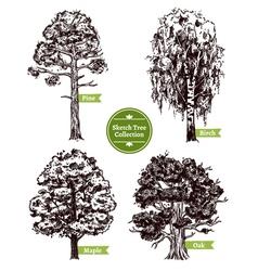 Sketch Tree Set vector image