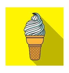Ice cream in waffle cup icon in flat style vector