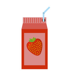 Strawberry juice box with straw vector